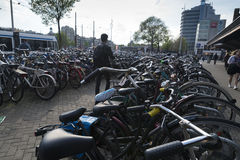 Amsterdam. NETHERLANDS - MAY, 12, 2017: Bicycle parking next to the central railway station Royalty Free Stock Images