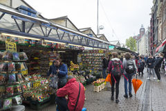 Amsterdam. NETHERLANDS - MAY, 13, 2017: The Bloemenmarkt is the world`s only floating flower market. Founded in 1862, it is sited in , on Singel between Stock Images