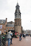 Amsterdam. NETHERLANDS - MAY, 13, 2017: The Bloemenmarkt is the world`s only floating flower market. Founded in 1862, it is sited in , on Singel between Royalty Free Stock Images