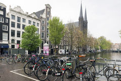 Amsterdam. NETHERLANDS - MAY, 13, 2017: The city on a cloudy spring day Royalty Free Stock Photo