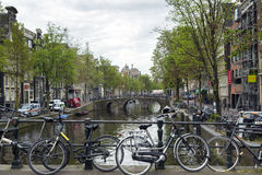 Amsterdam. NETHERLANDS - MAY 16, 2017: The city on a cloudy spring day Royalty Free Stock Image