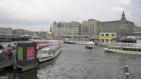Amsterdam. NETHERLANDS - MAY, 13, 2017: The city on a cloudy spring day stock footage