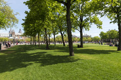 Amsterdam. NETHERLANDS - MAY, 15, 2017: Gardens between the Van Gogh museum and the Rijksmuseum on a spring morning Royalty Free Stock Photography