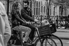 AMSTERDAM, NETHERLANDS - MAY 9: Man and woman with dog riding bicycles Royalty Free Stock Photography