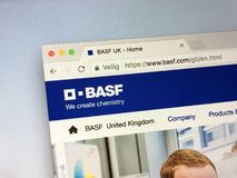 Website of BASF. Amsterdam, Netherlands - May 17, 2018: Official homepage of BASF, a German chemical company and the largest chemical producer in the world royalty free stock photo