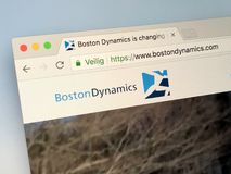 Website of Boston Dynamics. Amsterdam, Netherlands - May 16, 2018: Official homepage of Boston Dynamics, a American engineering and robotics design company Stock Image