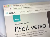 Official homepage of Fitbit. Amsterdam, Netherlands - May 17, 2018: Official homepage of Fitbit, a producer of  activity trackers, heart rate, quality of sleep Royalty Free Stock Photography