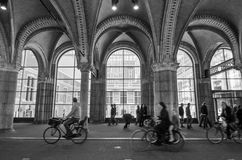Amsterdam, Netherlands - May 6, 2015: People at main entrance of the Rijksmuseum passage Royalty Free Stock Photos