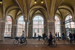 Amsterdam, Netherlands - May 6, 2015: People at main entrance of the Rijksmuseum passage Stock Photography