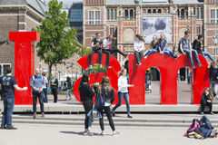 Amsterdam. NETHERLANDS - MAY, 15, 2017: A presentation, a slogan, a welcome phrase, a visual icon ... I  is an ingenious play on words that has become the Stock Images