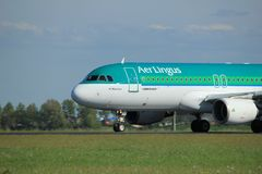 Amsterdam the Netherlands - May 3rd 2018: EI-DVJ Aer Lingus Airbus. A320-200 takeoff from Polderbaan runway, Amsterdam Airport Schiphol royalty free stock images