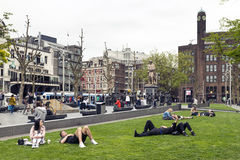 Amsterdam. NETHERLANDS - MAY, 15, 2017: Rembrandtplein Rembrandt Square is a major square in central ,  named after the famous painter Rembrandt van Rijn who Stock Images