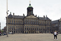 Amsterdam. NETHERLANDS - MAY, 16, 2017: Royal palace in the Dam square Stock Image