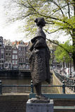 Amsterdam. NETHERLANDS - MAY, 15, 2017: Sculpture `Vrouw met stola` made by Pieter d`Hont in 1977, placed at the Singel Royalty Free Stock Photo