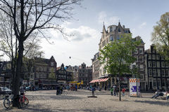 Amsterdam. NETHERLANDS - MAY, 15, 2017: The Spui is a square in the centre of . The Spui was originally a body of water that formed the southern limit of the Royalty Free Stock Photos