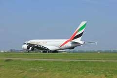 Amsterdam the Netherlands - May 6th, 2017: A6-EEX Emirates Airbus A380-800. Takeoff from Polderbaan runway, Amsterdam Schiphol Airport Royalty Free Stock Image