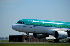 Amsterdam the Netherlands - May 4th 2018: EI-CVC Aer Lingus Airbus. A320-200 takeoff from Polderbaan runway, Amsterdam Airport Schiphol royalty free stock photography