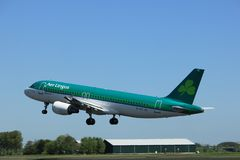 Amsterdam the Netherlands - May 4th 2018: EI-CVC Aer Lingus Airbus. A320-200 takeoff from Polderbaan runway, Amsterdam Airport Schiphol stock photo
