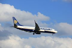 Amsterdam the Netherlands - May, 20th 2017: EI-EPE Ryanair Boeing 737. Approaching Schiphol Polderbaan runway Royalty Free Stock Photography