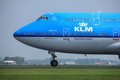 Amsterdam the Netherlands - May 6th, 2017: PH-BFE Boeing 747. Amsterdam the Netherlands - May 6th, 2017: PH-BFE KLM Boeing 747 takeoff from Polderbaan runway Stock Images