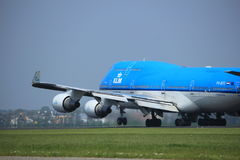Amsterdam the Netherlands - May 6th, 2017: PH-BFE Boeing 747. Amsterdam the Netherlands - May 6th, 2017: PH-BFE KLM Boeing 747 takeoff from Polderbaan runway Royalty Free Stock Images