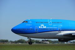 Amsterdam the Netherlands - May 4th 2018: PH-BFT KLM Royal Dutch Airlines Boeing 747-400M. Takeoff from Polderbaan runway, Amsterdam Airport Schiphol Stock Image
