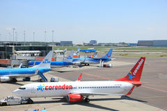Amsterdam The Netherlands -  May 13th 2016: Planes on platform Royalty Free Stock Photo