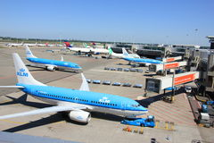 Amsterdam The Netherlands -  May 26th 2017: Planes on platform Royalty Free Stock Images