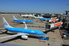 Amsterdam The Netherlands -  May 26th 2017: Planes on platform Stock Photography