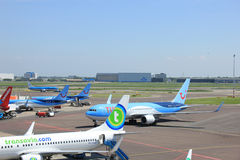 Amsterdam The Netherlands -  May 13th 2016: Planes on platform Stock Photography