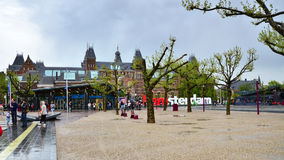 Amsterdam, Netherlands - May 6, 2015: Tourists at the famous sign  Royalty Free Stock Photography