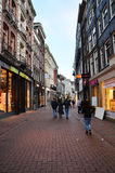 Amsterdam, Netherlands - May 7, 2015: Unidentified people Shopping on Kalverstraat Stock Image