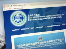 Website of The Shanghai Cooperation Organisation - SCO. Amsterdam, Netherlands - May 25, 2018: Website or homepage of The Shanghai Cooperation Organisation SCO Stock Photo