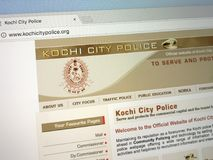 Homepage of the Kochi City Police KCP. Amsterdam, Netherlands - May 28, 2018: Website of the Kochi City Police KCP, the police force of the Indian city of Kochi Royalty Free Stock Images
