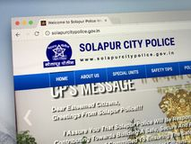 Homepage of the Solapur City Police, India. Amsterdam, Netherlands - May 28, 2018: Website of the Solapur City Police, India stock image