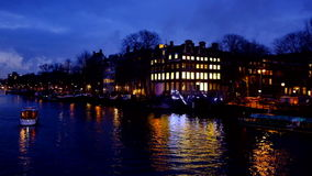 Amsterdam in the Netherlands by night stock video footage
