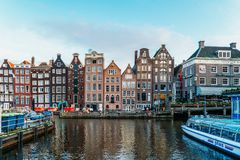 Beautiful Architecture Of Dutch Houses and Houseboats On Amsterdam Canal In Autumn Royalty Free Stock Image