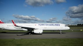 AMSTERDAM, THE NETHERLANDS - 19 OCTOBER 2016, Schiphol AIRPORT - Airplane of Turkish Airlines on the runway. Wide angle stock video