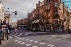 Crosswalk in Centre of Amsterdam on a Sunny Day stock photos