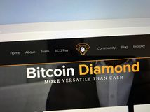 Website of Bitcoin Diamond BCD. Amsterdam, Netherlands - October 12, 2018: Website of Bitcoin Diamond or BCD, a digital cryptocurrency stock photography