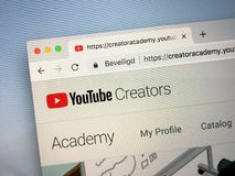 Website of YouTube Creators. Amsterdam, Netherlands - October 12, 2018: Website of YouTube Creators stock photography