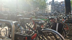 Amsterdam, Netherlands. 25.04.2019. Panorama of a large bike Park in Amsterdam. A large number of bicycles in the open stock video footage