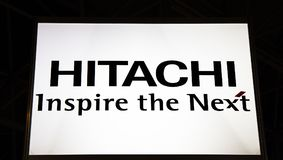 Hitachi inspire the next letters on. Amsterdam, Netherlands -september 15, 2017: Hitachi inspire the next letters on Royalty Free Stock Photos