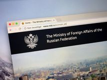 Homepage of The Ministry of Foreign Affairs of Russia stock images