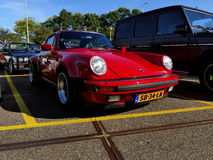 Amsterdam, The Netherlands - September 10, 2016: Red Porsche 911 Turbo 1983 Royalty Free Stock Photography
