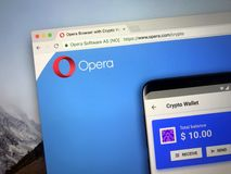 Homepage of crypto wallet Opera stock image