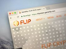 Website of FLIP Token. Amsterdam, the Netherlands - September 21, 2018: Website of FLIP Token, a digital cryptocurrency stock photos