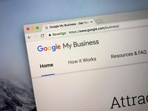Homepage of Google My Business. Amsterdam, the Netherlands - September 9, 2018: Website of Google My Business, a tool for businesses and organizations to manage royalty free stock photo