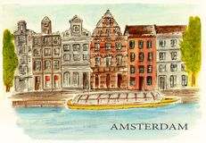 Amsterdam, Netherlands. Watercolor picture of Amsterdam, Netherlands. City sketch. Watercolor sketch Stock Image