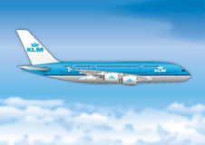 AMSTERDAM, THE NETHERLANDS, YEAR 2017, KLM airline passenger line Stock Images